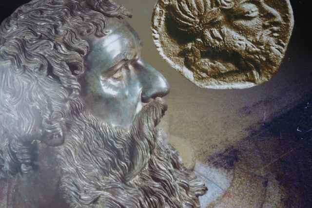 Kong Seuthes III (330 - 297 f.v.t.) som buste fundet ved hans grav og præget på en mønt